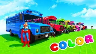Download LEARN COLORS SCHOOL BUS & BMX BIKES w/ Superheroes Fun Animation for Children Video