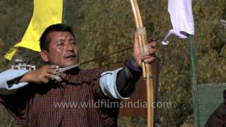 Download Bhutanese practice Archery or Dha in slow motion Video