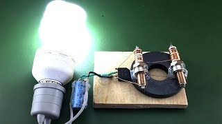 Download Wow free energy generator 100% with light bulb 220v using spark plug magnet Video