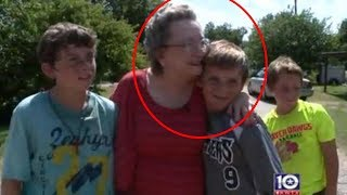 Download Elderly Woman Catches 4 Boys Sneaking Into Yard, Weeps When She Realizes What They're Doing Video