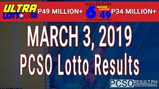 Download PCSO Lotto Results Today March 3, 2019 (6/58, 6/49, Swertres, STL & EZ2) Video