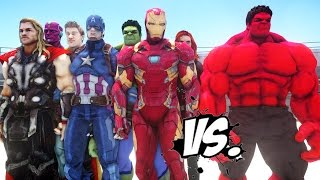 Download THE AVENGERS VS RED HULK - EPIC SUPERHEROES BATTLE | DEATH FIGHT Video