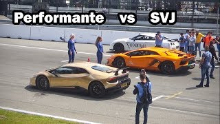 Download Lambo vs Lambo: Who's faster?? | Aventador SVJ -vs- Huracán Performante Video