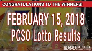 Download PCSO Lotto Results Today February 15, 2018 (6/49, 6/42, 6D, Swertres, STL & EZ2) Video