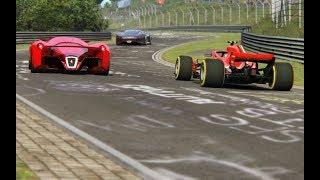 Download F1 Ferrari SF71H '18 vs Ferrari F80 vs Bugatti Chiron vs Mercedes-Benz Vision GT at Nordschleife Video
