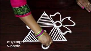 Download Latest Triangle kolam designs with out dots || easy muggulu by Suneetha simple rangoli arts Video