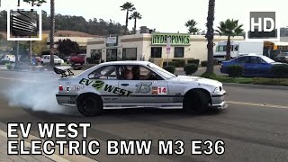 Download EV West Electric BMW M3 E36 831 lb/ft, Pikes Peak Race Car Drifts and Burnouts Video
