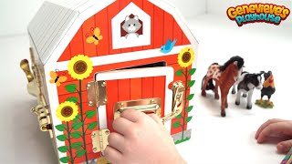 Download Genevieve Plays with Farm Animals and Wooden Marble Maze! Video