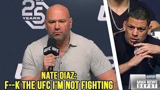 Download Nate Diaz storms off stage after Conor vs Khabib announcement; UFC Press Conference LA Highlights Video