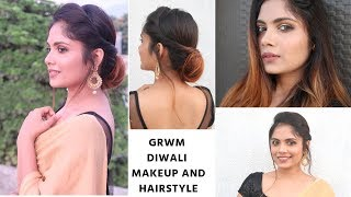 Download Diwali special Makeup + Hairstyle For Medium to Long Hair/ Indian Festive hairstyle Video