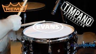 Download Aquarian vs Evans vs Remo: 62 heads - ULTIMATE Snare Head Comparison - Timpano Percussion Video
