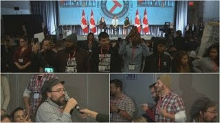 Download Trudeau faces angry protests at Young Workers Summit Video