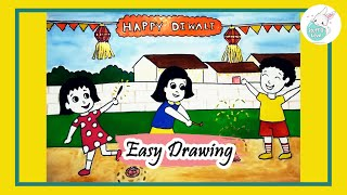 Download How to draw kids celebrating Diwali festival easy drawing for kids Video