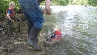 Download Tommy falls into river!!!!!!! Carp fishing in mud hole. Catch tons of fallfish Video