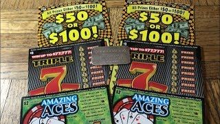 Download New Games! Released Today! $50 or $100, TRIPLE 7, AMAZING ACES California Lottery Scratcher Tickets Video