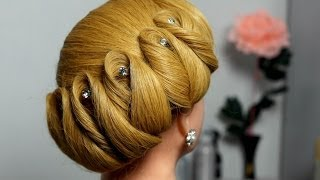 Download Hairstyle for medium hair. Wedding updo Video