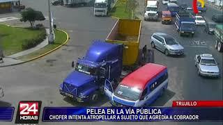 Download Trujillo: cobrador de combi se pelea con pasajero y chofer intenta atropellarlo Video