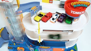 Download Play with Toy Cars on a Giant Tomica Playset and a Tayo Parking Garage! Video