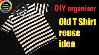 Download Old T Shirt reuse idea# Best out of waste# DIY Bedside pocket organiser# old clothes craft Video