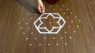 Download Simple Deepa Rangoli Design with 9x5 Dots | Easy Daily Kolam Video