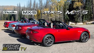 Download Which is Best? - Driving all Four MX5 / Miatas - Everyday Driver Comparison Review Video