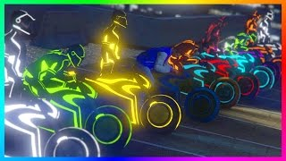 Download GTA ONLINE TRON DLC FREEMODE SPECIAL - RAINBOW SHOTARO CHALLENGE, EXPENSIVE NEON VEHICLES & MORE! Video