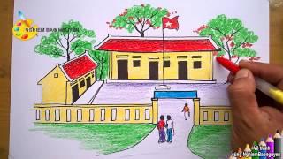 Download Vẽ tranh Ngôi trường của em/How to Draw My school Video