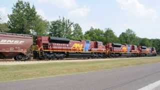 Download Arkansas & Missouri with new power SD70ACe leaving Monett, MO for the first time on Sept. 11, 2013. Video