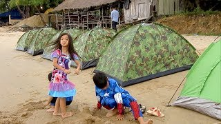 Download Travel from Kampot to Ream Beach Sihanoukville | Camping at Ream National Park Beach in Cambodia Video