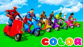 Download FUN LEARN COLORS SCOOTER w/ SUPERHEROES 3D Animation Cartoon for Children Video