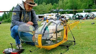 Download HUGE XXL RC TURBINE MODEL HELICOPTER ALOUETTE II SA318 C DEMO FLIGHT VARIO TEAMPILOT FRANCIS PADUWAT Video