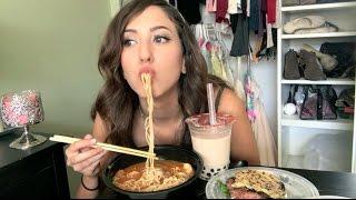 Download SPICY RAMEN + RAMEN BURGER MUKBANG! (Eating Show) | MEESH LA Video