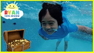 Download Ryan finds Secret Treasure Chest with Surprise Toys in swimming pool!!!! Video