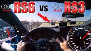 Download RS6 Performance chasing tuned RS3 on German Autobahn ✔ Video