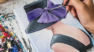Download Acrylic painting - Lady in Black Hat with a Purple Bow (4k) Video