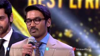 Download Micromax Siima 2015 | Best Lyricist Tamil | Dhanush | Amma Amma Video