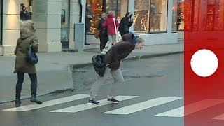 Download Walkin' in the Wind: People blown over in streets as Storm Ivar hits Norway Video