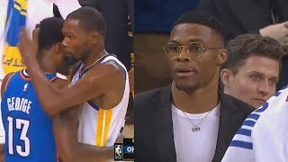 Download Russell Westbrook Watches Kevin Durant and Paul George Amazing Duel! Warriors vs Thunder Video