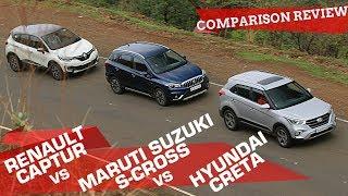 Download Hyundai Creta 2018 vs Maruti S-Cross vs Renault Captur: Comparison Review | ZigWheels Video