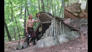 Download Primitive Bushcraft Shelter - Stone Roofed Lean-To Video