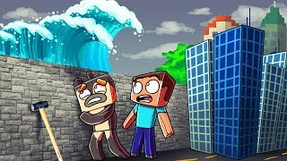 Download Minecraft | TSUNAMI BASE CHALLENGE 2 - Tsunami Destroys City! (Wall vs Tsunami) Video