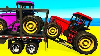 Download FUN COLOR TRACTOR Transportation - Spiderman Cartoon for Toddlers w Colors for Kids Nursery Rhymes Video