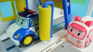 Download Poli car wash Robocar Poli Tayo bus Pororo car toys play Video