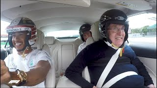 Download Lewis Takes Sir Frank Williams for a Silverstone Hot Lap Video