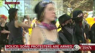 Download Portland right-wing rally sees heavy police presence Video