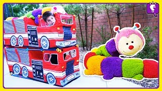 Download GIANT CATERPILLAR Adventure! Stacked Trucks and Pretend Play by HobbyKids Video
