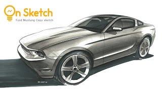 Download 온스케치 CAR SKETCH - ″Ford Mustang GT COPY Sketch″ (AD marker / Prisma Color) Video