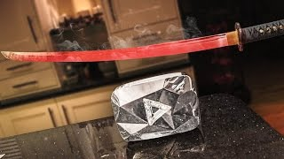 Download EXPERIMENT Glowing 1000 degree KATANA VS 10 MILLION SUBSCRIBER PLAQUE Video