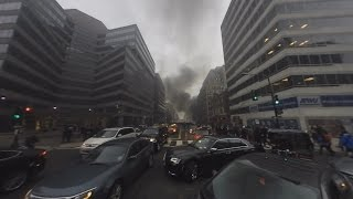 Download Protests erupt during Trump inauguration: 360-degree view Video