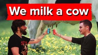 Download Chris and Johnny milk a cow using the Nintendo Switch Video
